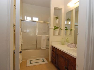 Tub with shower and vanity