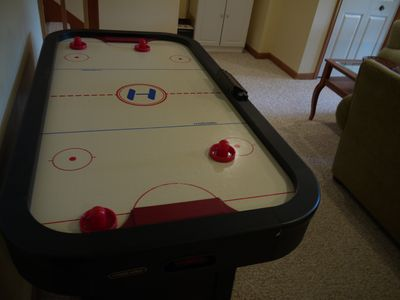 Airhockey table in the lower level.