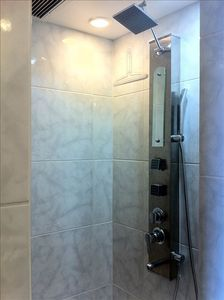 Separate walk-in shower with body sprays, hand sprayer, and rain-style head