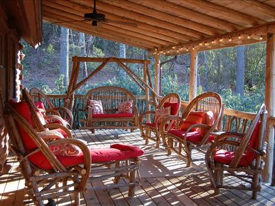 Relax on the back porch with mountain views!