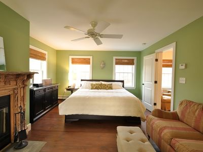 Livingston Manor house rental - The master has a king bed, w/b fireplace, seating area, office, and full bath.