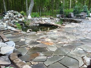 Bushkill chalet photo - zen patio and pond with firepit and hot tub