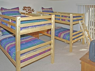 4 bunk beds in the third bedroom- Cable TV, Free movies, twin sink bathroom