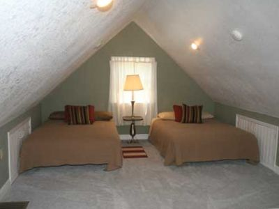 Loft Area with two Queen Sized Beds and plenty of extra room.