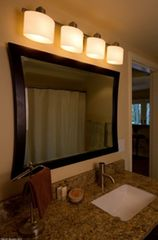 Portland house photo - Modern vanity, oversized shower rod
