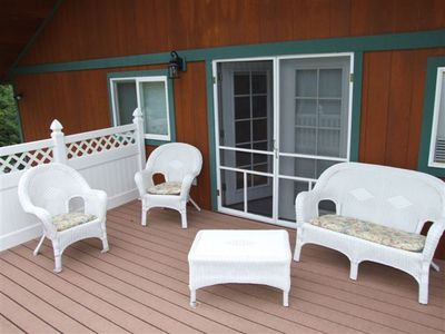 Whitefish house rental - private balcony off Master Suite (watch the animals pass by)