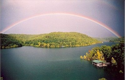 Rainbow Over Beaver Lake From Your Private Deck. (No Photoshop Tricks)