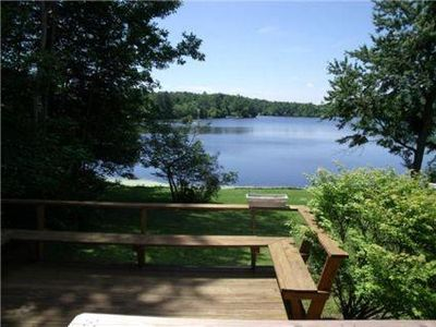 View of the lake from the deck in summertime.