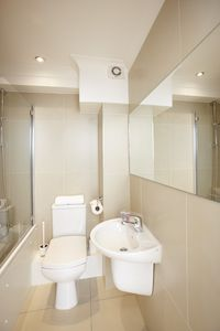 Modern, spotless bathroom