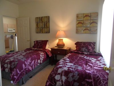 "Two twin beds in guest room, 19"" flat screen television, too!"