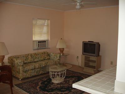 Living room, kitchen counter to right