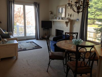 Open living/dining area with great deck and views