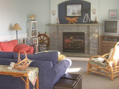 Beachy and Cozy Living Room with Gas Fireplace