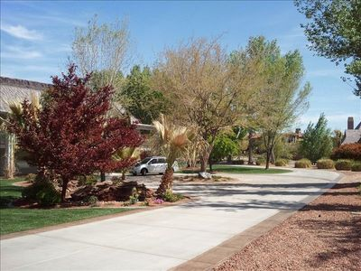 front driveway with large parking areas
