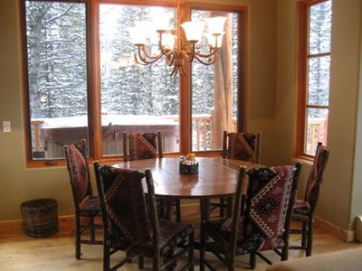 Big Sky chalet rental - Dining Table seats 6 - 8, opens to great room and breathtaking views
