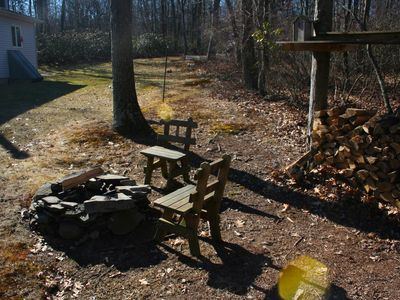 Fire pit, on the edge of the woods