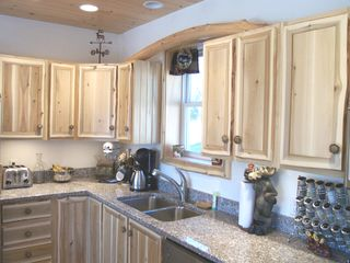 Sullivan lodge photo - Stainless appliances with Rustic livedge cabinets..find the Moose?