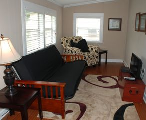 Dauphin Island cottage photo - Den with flat screen television and double futon equipped with memory foam