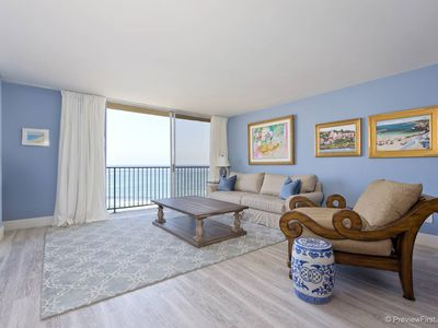 Large living room with the best ocean view in La Jolla!