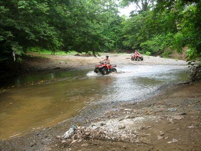 Exciting ATV riding through the natural rocky areas outside CoCo beach.