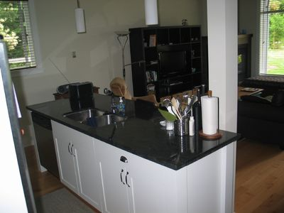 Fully equipped, modern kitchen with island