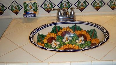 Masterh Bathroom hand painted sink. So pretty...