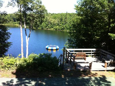 Lake Ann lodge rental - Lakeview deck with water trampoline