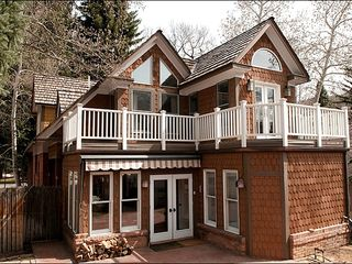 Aspen townhome photo - Private Back yard with Hot tub, patio, and view of the mountains