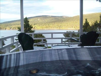 View of Somes Sound & Acadia Nat'l Park Mountains from Hot Tub on Covered Porch