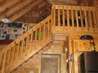 Cherry Log cabin photo - Stairs leading up to the upstairs bedroom