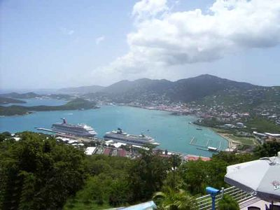 Aerial View St. Thomas Amalie Harbor