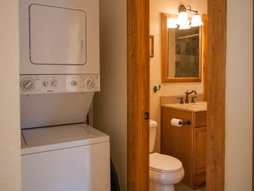 New washer/dryer in condo. Additional laundry facilities on premises.