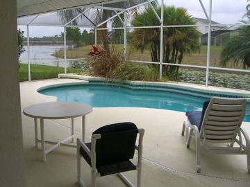 Oak Island villa rental - Swimming pool overlooking the lake