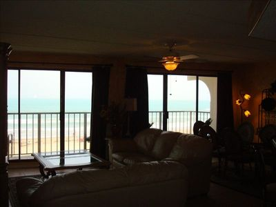 Panoramic ocean view from inside condo