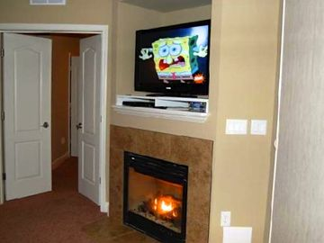 Don't worry like Spongebob... a warm gas fire turns on/off with just a switch.