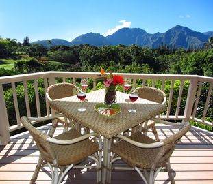 Hanalei house rental - Natural beauty surrounds both upper and lower lanais.