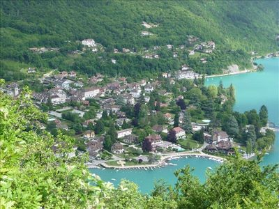 The Village of Talloires with a prominent view of the Bay
