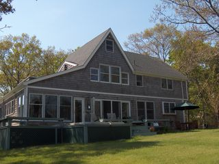 Oak Bluffs house photo - Front of waterview home; GREAT outdoor spaces; swimspa relaxing room!