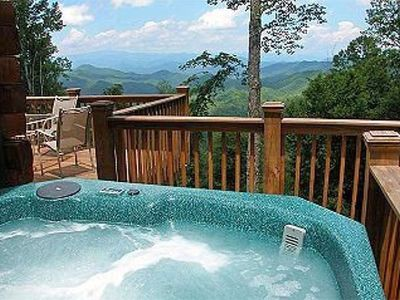 Relax and enjoy the view from the secluded 6 person hot tub