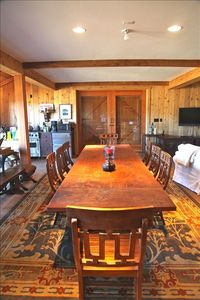 Old Rustic Barn dining area & custom table