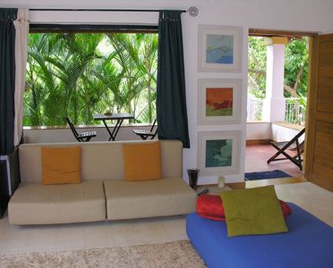 North Goa cottage rental - Living Area facing main sit out balcony