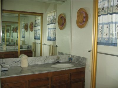 Master dressing area, separate from bathroom