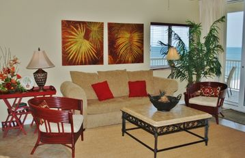 Fort Morgan condo rental - Living Room - Opens to balcony overlooking 5 pools and 1000' of sugar white sand in Fort Morgan area of Gulf Shores Alabama