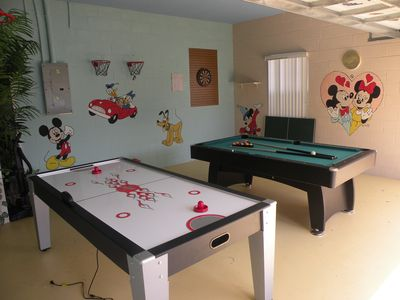 Playroom for all ages, with Airhockey,Pool Table, Ping Pong, Basketball, Darts.