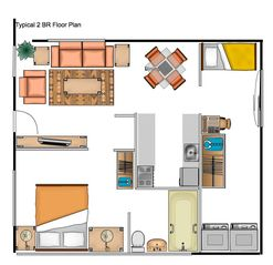 Sarasota cottage photo - Floor Plan-Front door in Living area, Rear sliding Doors open onto private patio