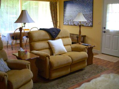 Great room: Amish-made tables and LazyBoy recliners mix comfort and simplicity.