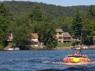 Schroon Lake chalet photo - This few shows our two houses to the left - the chalet is hidden in the trees.