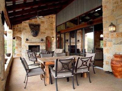 Lago Vista estate rental - Covered Lanai has Additional Seating and Dining Options