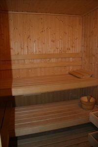 Sauna  downstairs in the cabin