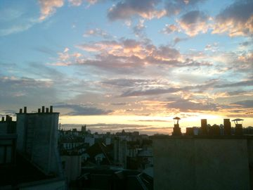 Beautiful Parisian sunset seen from the apartment